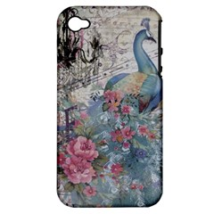 French Vintage Chandelier Blue Peacock Floral Paris Decor Apple iPhone 4/4S Hardshell Case (PC+Silicone)
