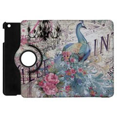 French Vintage Chandelier Blue Peacock Floral Paris Decor Apple iPad Mini Flip 360 Case