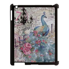 French Vintage Chandelier Blue Peacock Floral Paris Decor Apple iPad 3/4 Case (Black)