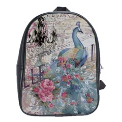 French Vintage Chandelier Blue Peacock Floral Paris Decor School Bag (XL)