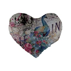 French Vintage Chandelier Blue Peacock Floral Paris Decor 16  Premium Heart Shape Cushion