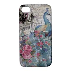 French Vintage Chandelier Blue Peacock Floral Paris Decor Apple iPhone 4/4S Hardshell Case with Stand