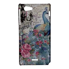 French Vintage Chandelier Blue Peacock Floral Paris Decor Sony Xperia J Hardshell Case