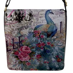 French Vintage Chandelier Blue Peacock Floral Paris Decor Flap Closure Messenger Bag (small)