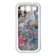 French Vintage Chandelier Blue Peacock Floral Paris Decor Samsung Galaxy S3 Back Case (white)