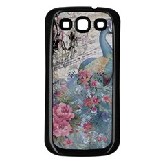 French Vintage Chandelier Blue Peacock Floral Paris Decor Samsung Galaxy S3 Back Case (Black)
