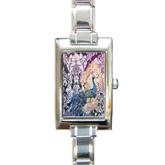 Damask French Scripts  Purple Peacock Floral Paris Decor Rectangular Italian Charm Watch