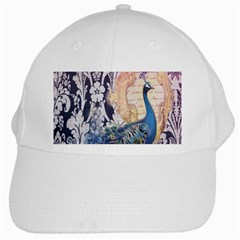 Damask French Scripts  Purple Peacock Floral Paris Decor White Baseball Cap