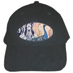 Damask French Scripts  Purple Peacock Floral Paris Decor Black Baseball Cap