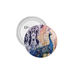 Damask French Scripts  Purple Peacock Floral Paris Decor 1.75  Button