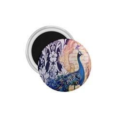 Damask French Scripts  Purple Peacock Floral Paris Decor 1.75  Button Magnet