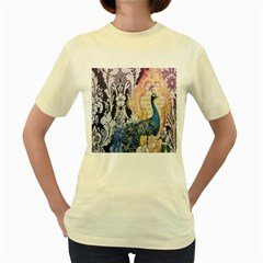 Damask French Scripts  Purple Peacock Floral Paris Decor  Womens  T-shirt (Yellow)