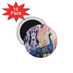 Damask French Scripts  Purple Peacock Floral Paris Decor 1.75  Button Magnet (10 pack)