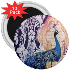Damask French Scripts  Purple Peacock Floral Paris Decor 3  Button Magnet (10 pack)