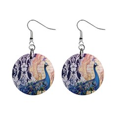 Damask French Scripts  Purple Peacock Floral Paris Decor Mini Button Earrings