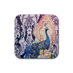 Damask French Scripts  Purple Peacock Floral Paris Decor Drink Coasters 4 Pack (Square)
