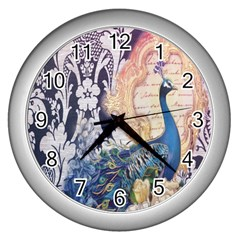 Damask French Scripts  Purple Peacock Floral Paris Decor Wall Clock (Silver)