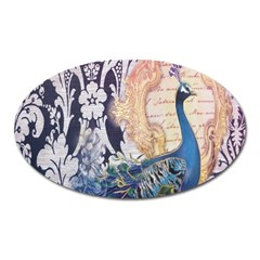Damask French Scripts  Purple Peacock Floral Paris Decor Magnet (Oval)