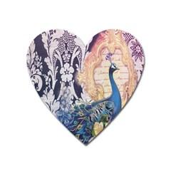 Damask French Scripts  Purple Peacock Floral Paris Decor Magnet (Heart)