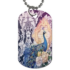 Damask French Scripts  Purple Peacock Floral Paris Decor Dog Tag (One Sided)
