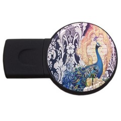 Damask French Scripts  Purple Peacock Floral Paris Decor 2GB USB Flash Drive (Round)