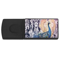Damask French Scripts  Purple Peacock Floral Paris Decor 1GB USB Flash Drive (Rectangle)