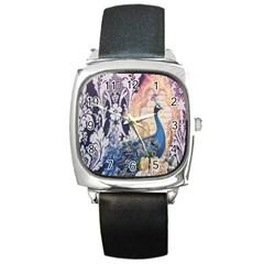 Damask French Scripts  Purple Peacock Floral Paris Decor Square Leather Watch