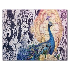 Damask French Scripts  Purple Peacock Floral Paris Decor Jigsaw Puzzle (rectangle)