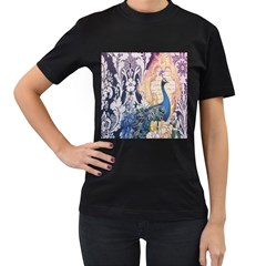 Damask French Scripts  Purple Peacock Floral Paris Decor Womens' Two Sided T-shirt (Black)