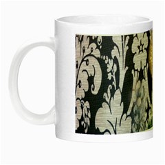 Damask French Scripts  Purple Peacock Floral Paris Decor Glow In The Dark Mug