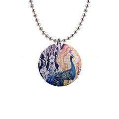 Damask French Scripts  Purple Peacock Floral Paris Decor Button Necklace