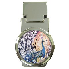 Damask French Scripts  Purple Peacock Floral Paris Decor Money Clip with Watch