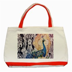 Damask French Scripts  Purple Peacock Floral Paris Decor Classic Tote Bag (Red)