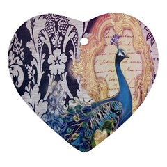Damask French Scripts  Purple Peacock Floral Paris Decor Heart Ornament (Two Sides)