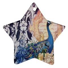 Damask French Scripts  Purple Peacock Floral Paris Decor Star Ornament (Two Sides)