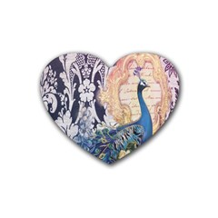 Damask French Scripts  Purple Peacock Floral Paris Decor Drink Coasters 4 Pack (Heart)