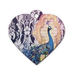 Damask French Scripts  Purple Peacock Floral Paris Decor Dog Tag Heart (One Sided)