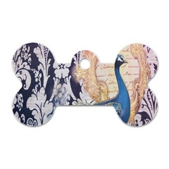Damask French Scripts  Purple Peacock Floral Paris Decor Dog Tag Bone (Two Sided)