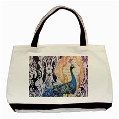 Damask French Scripts  Purple Peacock Floral Paris Decor Twin-sided Black Tote Bag