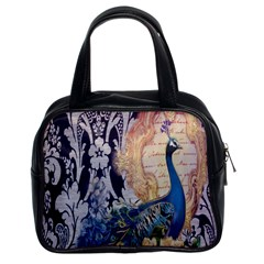 Damask French Scripts  Purple Peacock Floral Paris Decor Classic Handbag (Two Sides)