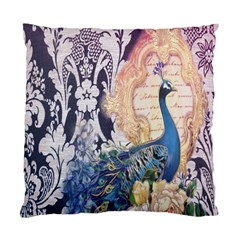 Damask French Scripts  Purple Peacock Floral Paris Decor Cushion Case (two Sided)