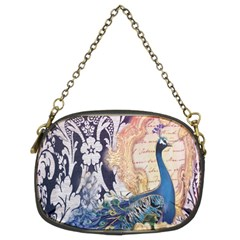 Damask French Scripts  Purple Peacock Floral Paris Decor Chain Purse (Two Sided)