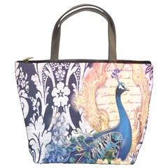 Damask French Scripts  Purple Peacock Floral Paris Decor Bucket Bag