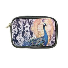 Damask French Scripts  Purple Peacock Floral Paris Decor Coin Purse