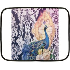 Damask French Scripts  Purple Peacock Floral Paris Decor Mini Fleece Blanket (two Sided)