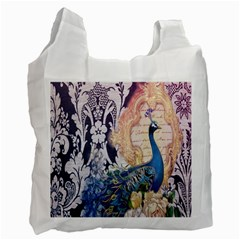 Damask French Scripts  Purple Peacock Floral Paris Decor Recycle Bag (one Side)