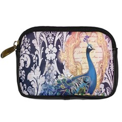 Damask French Scripts  Purple Peacock Floral Paris Decor Digital Camera Leather Case