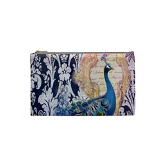 Damask French Scripts  Purple Peacock Floral Paris Decor Cosmetic Bag (Small)