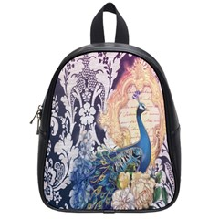 Damask French Scripts  Purple Peacock Floral Paris Decor School Bag (Small)