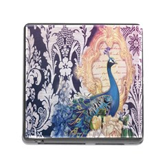 Damask French Scripts  Purple Peacock Floral Paris Decor Memory Card Reader with Storage (Square)
